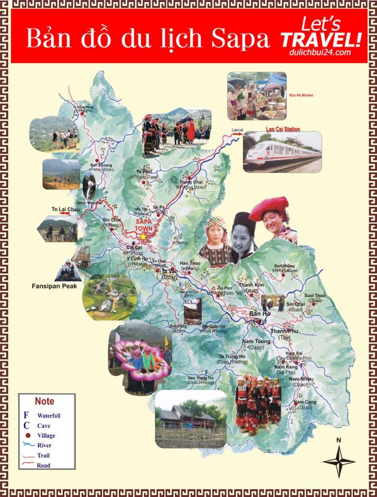 ban do du lich sapa1 778x1024 Du lịch Sapa, kinh nghiệm đi du lịch bụi, phượt Sapa giá rẻ