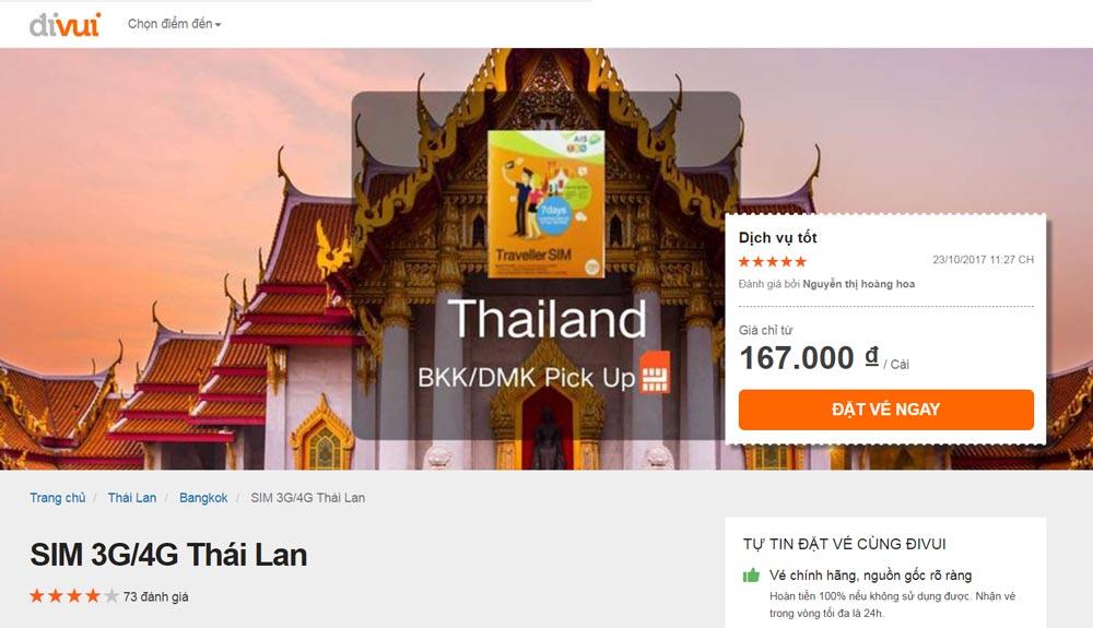 Sim wifi du lịch Thái Lan