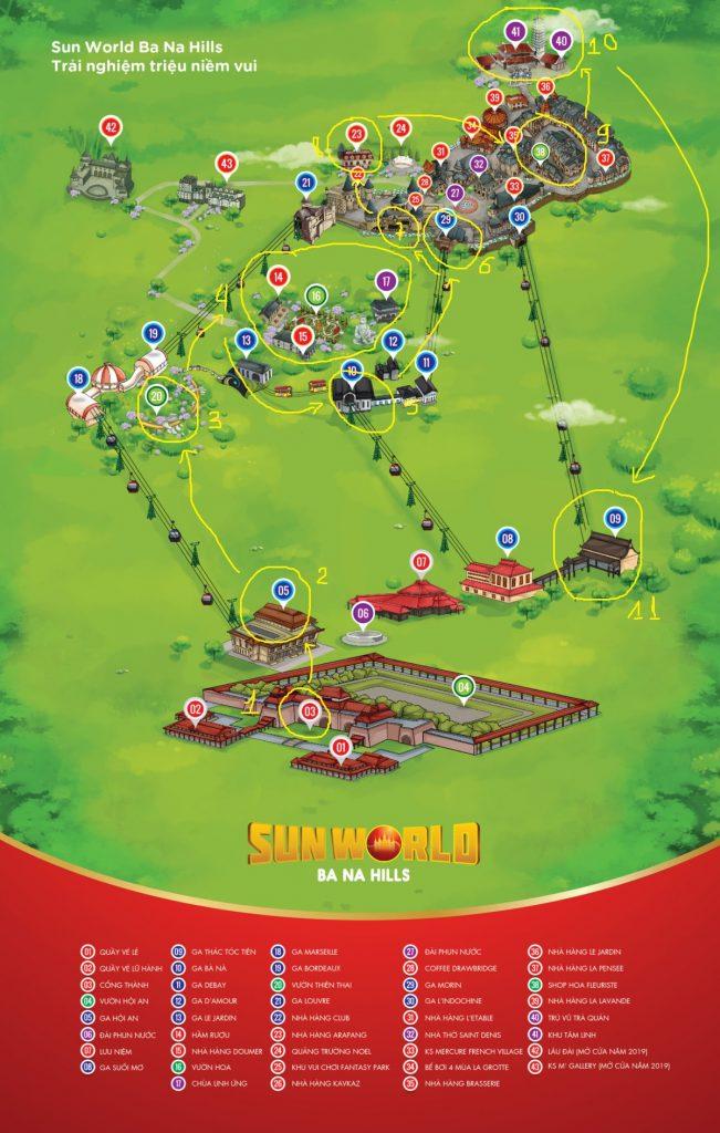 Bản đồ minh họa lịch trình du lịch Bà Nà Hill