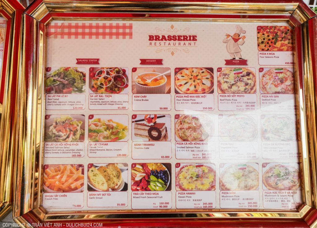 menu nhà hàng ở bà nà hills
