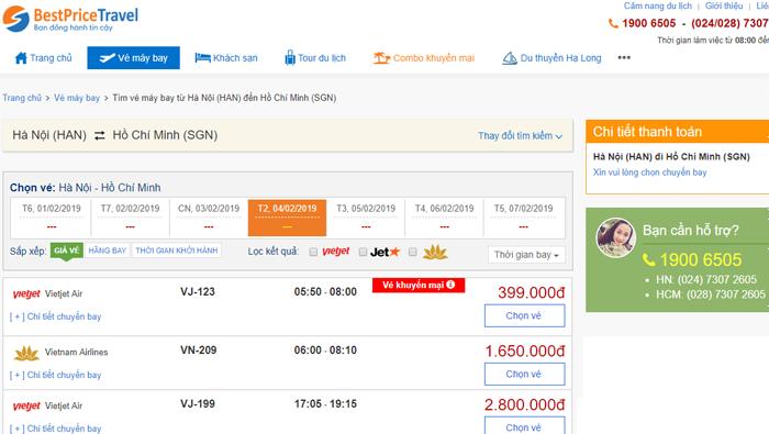 Hệ thống so sánh vé máy bay online của BestPrice