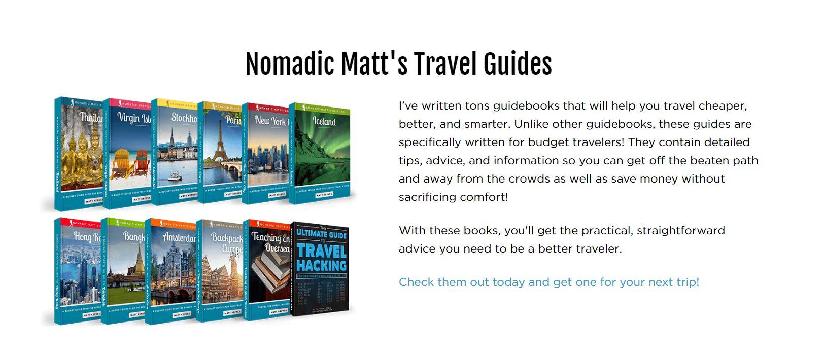 Sản phẩm travel guide của Nomadic Matt